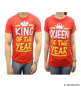 DOO FU Couple T-Shirt King Queen - Red (V)