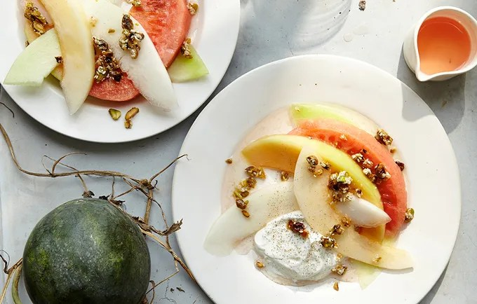 Melon with Yogurt and Pistachio-Sesame Brittle