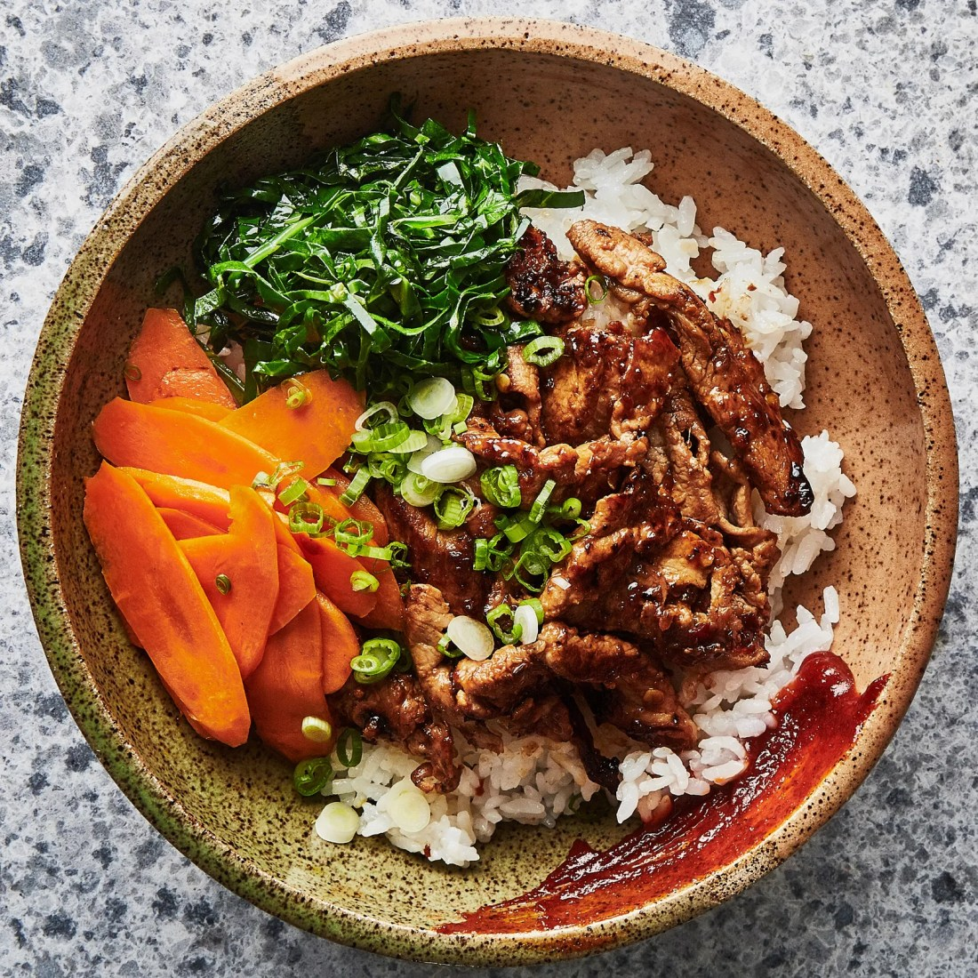 Marinated meat, rice, and some kind of pickled veggie will always be a simple way to get maximum flavor and indulge. This pork and rice recipe from Bon Appetit (my go-to for trying new recipes) is a fast weeknight dinner for sure... | photo: bon appetit