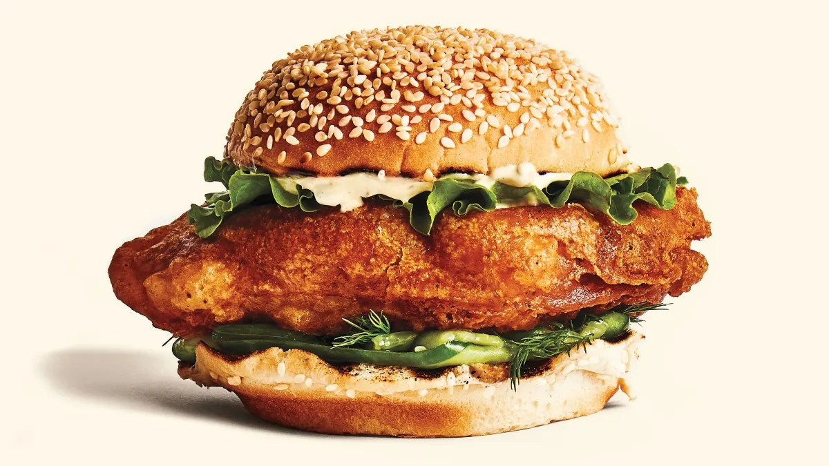 Fried Fish Sandwiches with Cucumbers and Tartar Sauce