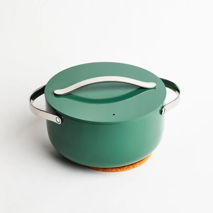 Caraway Dutch oven in green with silver handles