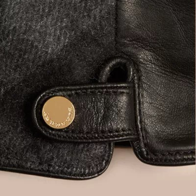 Leather And Check Cashmere Gloves In Charcoal - Women