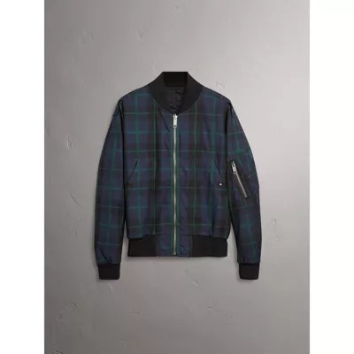 Reversible Check Cotton And Nylon Er Jacket In Navy Men Burberry United Kingdom