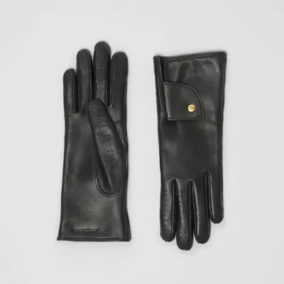 Cashmere-lined Lambskin Gloves In Black Burberry United