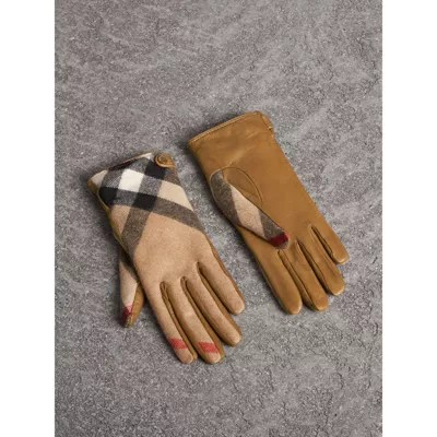 Leather And Check Cashmere Gloves In Camel - Women