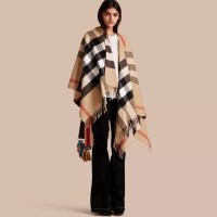 Check Cashmere and Wool Poncho in Camel - Women | Burberry ...