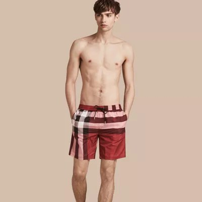 Check Swim Shorts In Parade Red - Men Burberry United States