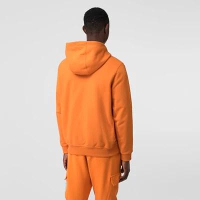 徽標印花棉質連帽衫 (亮橘色) - 男士 | Burberry 博柏利