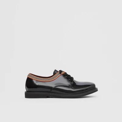 標志性條紋裝飾漆皮鞋 (黑色) - 兒童   Burberry 博柏利