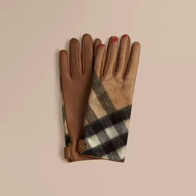 Leather And Check Cashmere Gloves In Camel - Women Burberry