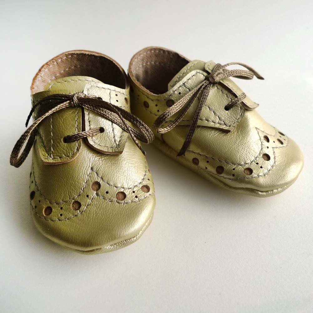 Pale Gold Leather Baby Girl Crib Dress Shoes. Sewing