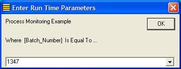 Entering Run Time Parameters
