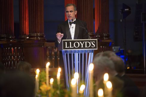 Mark Carney, governor of the Bank of England (BOE), speaks at a Lloyd's of London dinner in London, on Sept. 29, 2015.