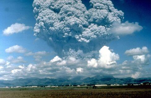 Mount Pinatubo volcano erupting.