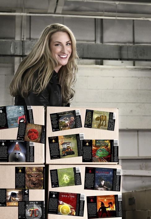 Kerri Dahlhofer with her bottle label designs.