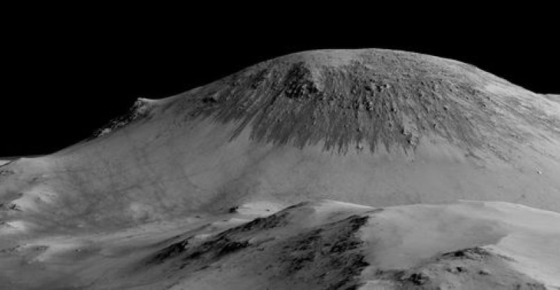 Called recurring slope lineae, these dark, narrow, 100-meter-long streaks flowing downhill on Mars are thought to have been formed by contemporary flowing water. Recently, planetary scientists detected hydrated salts on these slopes at Horowitz crater, corroborating their original hypothesis that the streaks are indeed formed by liquid water.