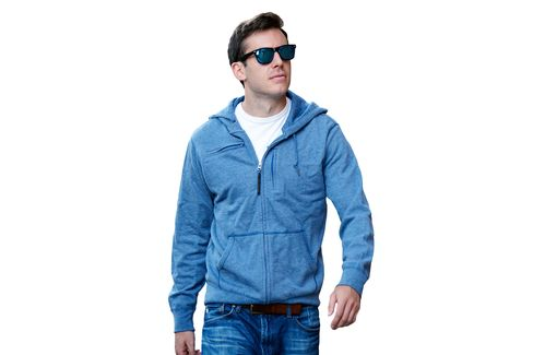 The travel hooded sweatshirt by Baubax is available in variouscolors and sizes.