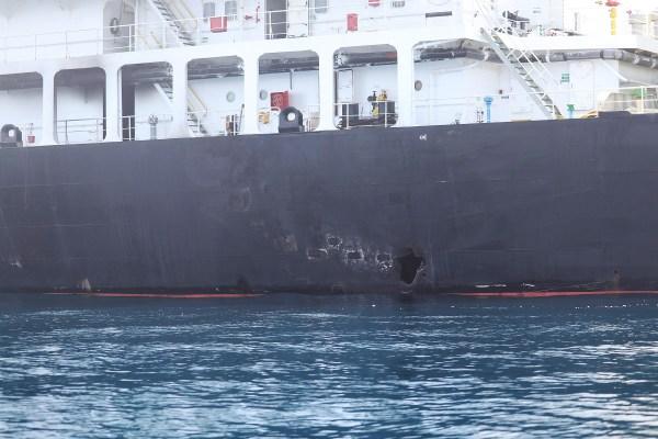 Blast damage on the starboard side of motor vessel M/T Kokuka Courageous on June 13.