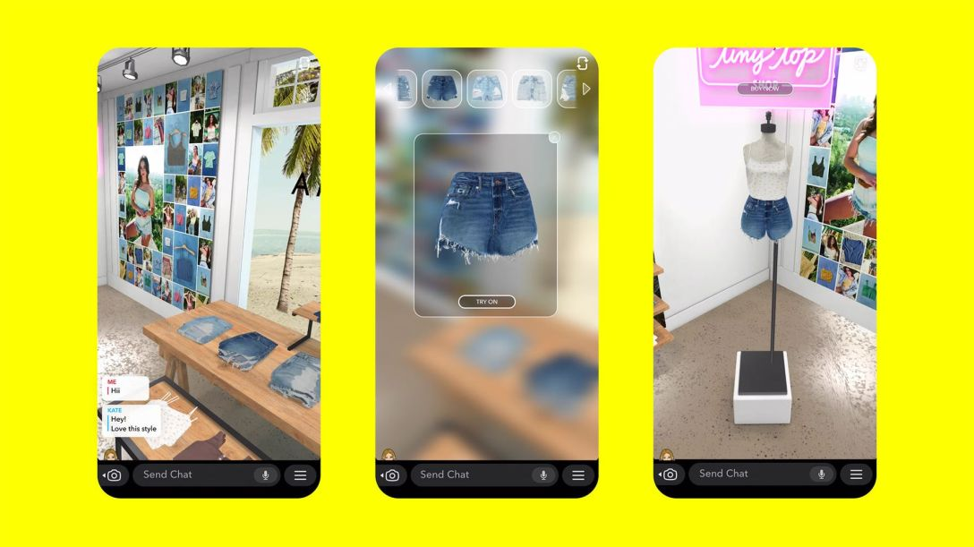 American Eagle's AR connected lens on Snapchat.
