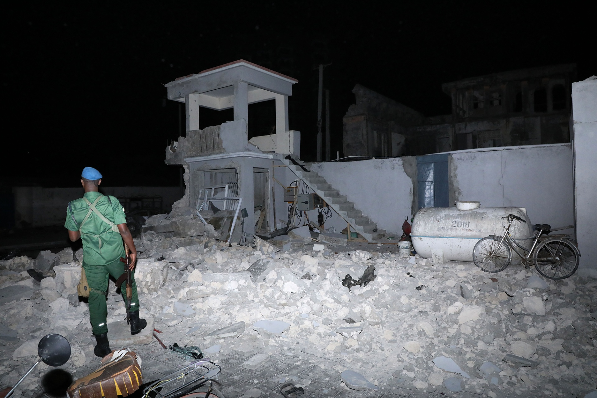 Damage after a bombing and attack at the Elite hotel in Mogadishu, Somalia, on Aug. 16.