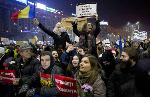 Protest in Romania over Graft