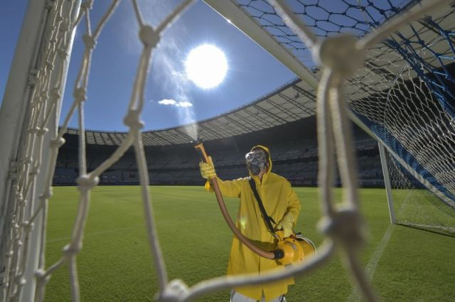 Mineirao Stadium Disinfection Prior to the Sunday Soccer Match Amidst the Coronavirus (COVID-19) Pandemic