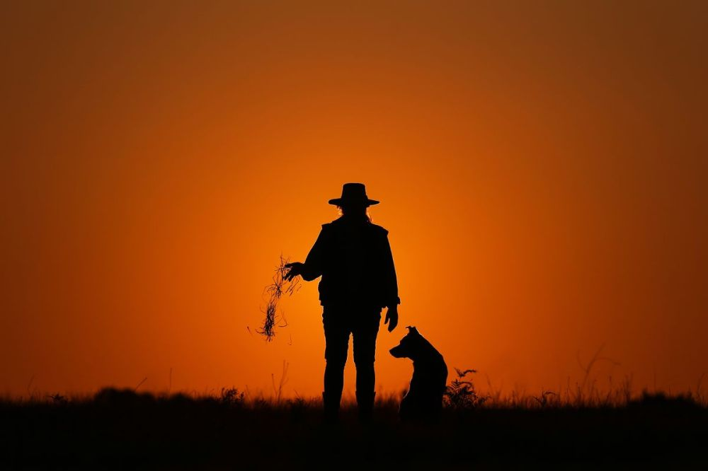 medium resolution of farmer leeanne oldfield and her dog jett at her farm in wandandian new south wales australia