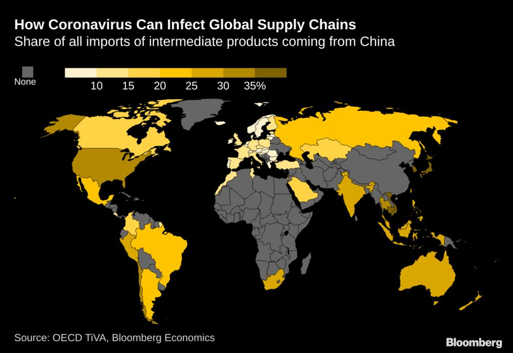 How the Coronavirus Can Infect Global Supply Chains: Map - Bloomberg