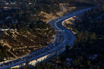 Aerial Views Of Rush Hour Traffic