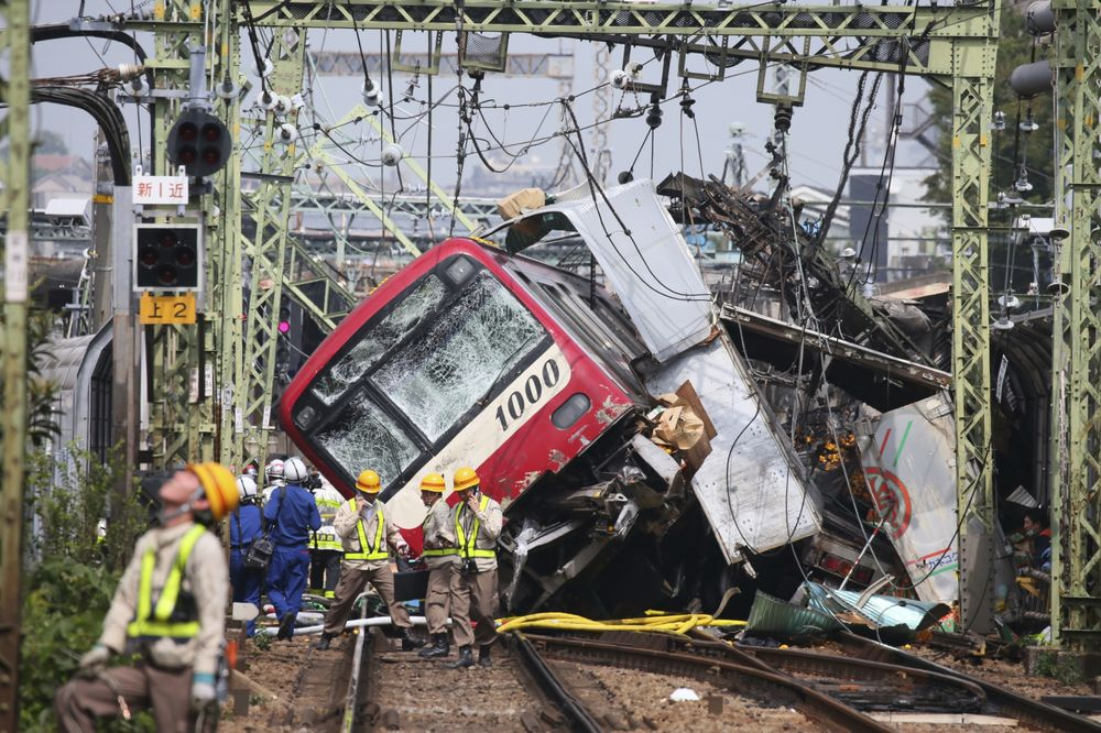 truck train collide at