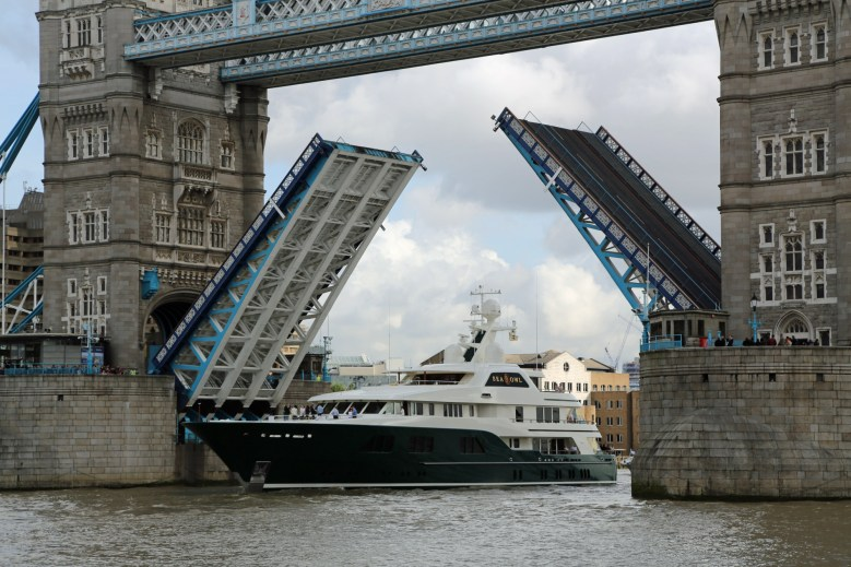 US hedge fund manager Robert Mercer's new superyacht Sea Owl on the River Thames, London, Britain - 17 Oct 2013