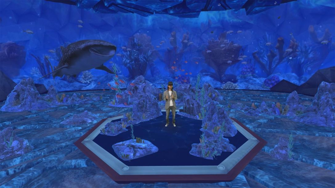 Microsoft's Alex Kipman in a holographic aquarium.