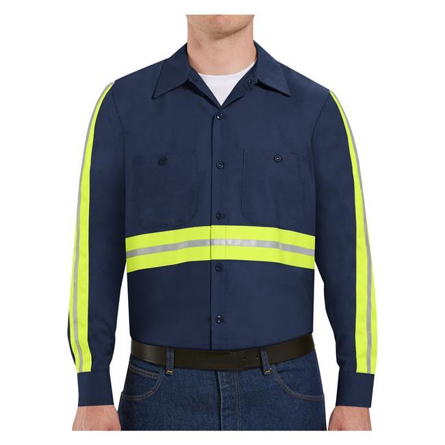 Men's Red Kap Enhanced Visibility Industrial Work Shirt Long Sleeve @ WorkBoots.com