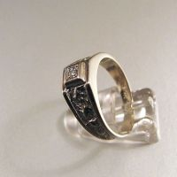 14 karat (585) white gold ring, set with a diamond