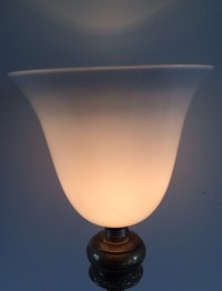 Brass table lamp with white molded glass shade - mid 20th ...