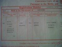 John Lennon Birth Certificate