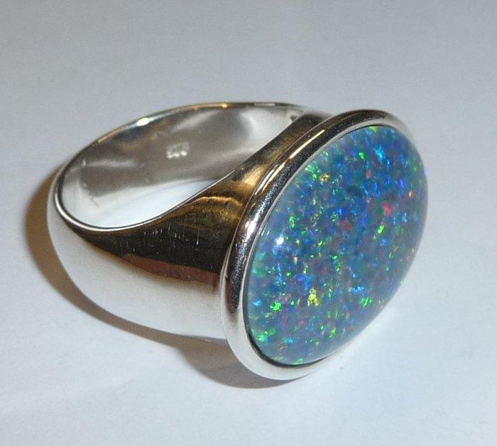 Moderner OpalRing 925 Silber groe bunt schillernde Opal