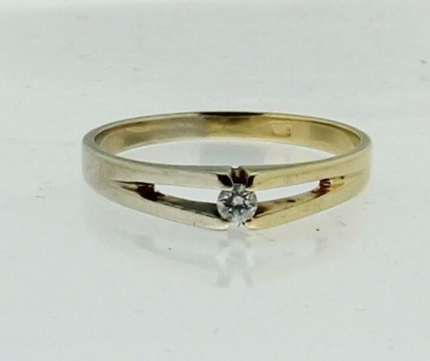 Bicolor solitaire ring met diamant 005crt  Catawiki