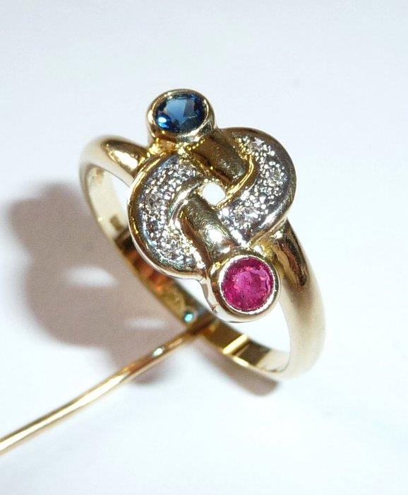 Yellow gold ring 585/14 karat sapphire, ruby, diamonds