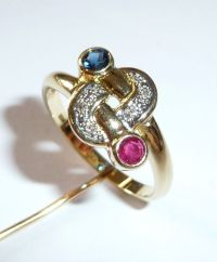 Yellow gold ring 585/14 karat sapphire, ruby, diamonds