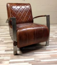 Sheep's leather-clad smoking arm chair - with metal frame ...