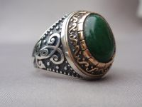 Men's ring with Malachite cabochon