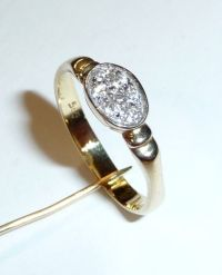 Gold ring, 585 / 14 kt, with zirconia arrangement