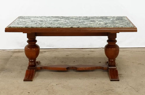 coffee table with green marble top mid