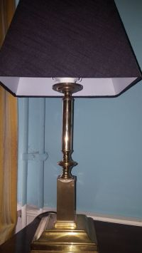 A pair of vintage metql/brass candlestick table lamps with ...