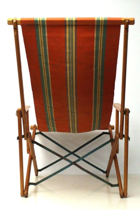 antique beach chair hanging youtube vintage folding with arm rests and striped canvas fabric