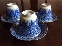 Large tea cups and saucers with blue and white (Kangxi
