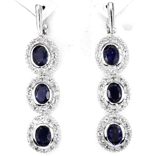 Solid 925 sterling silver dangle earrings with blue iolite