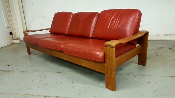 70s leather 3 seater