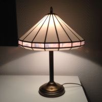 Tiffany style table lamp with stained glass with bronze ...